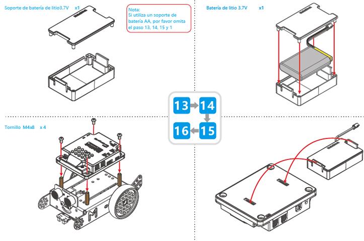Montaje mBot. Pasos 13-16