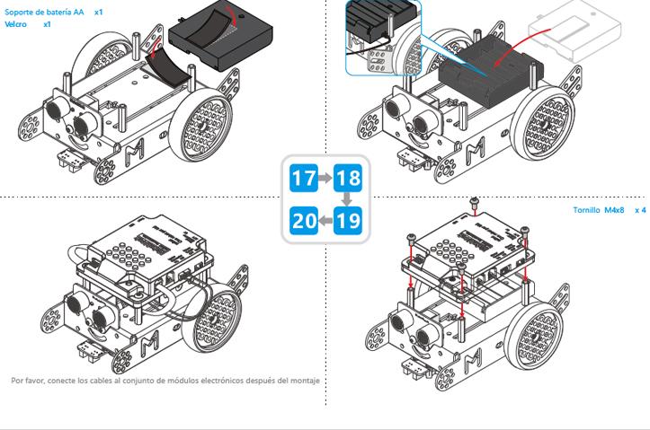 Montaje mBot. Pasos 17-20